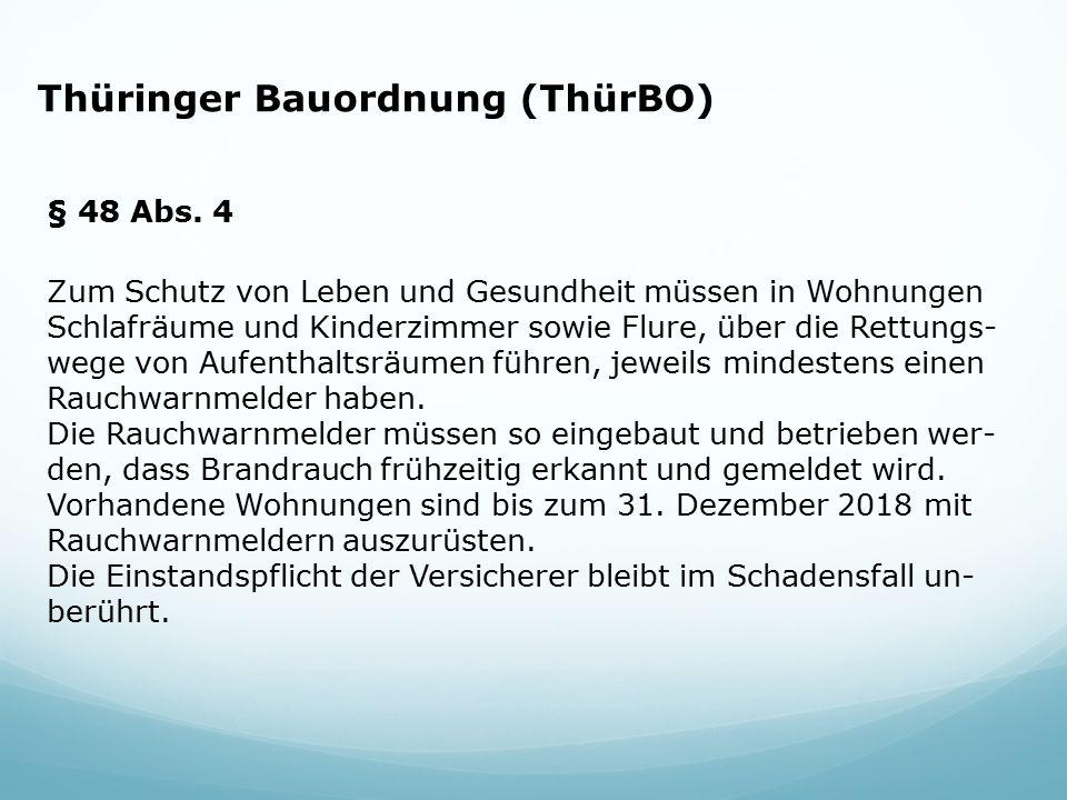 Thüringer Bauordnung (ThürBO) § 48 Abs. 4 Zum Schutz von Leben und Gesundheit müssen in Wohnungen Schlafräume und Kinderzimmer sowie Flure, über die R