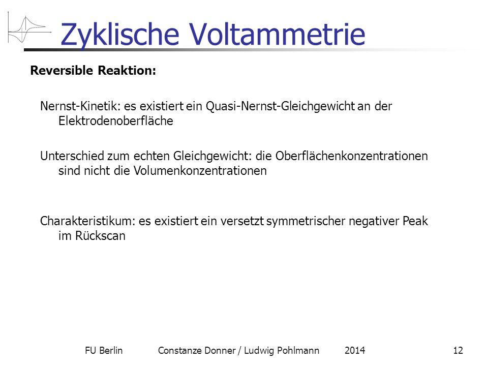 FU Berlin Constanze Donner / Ludwig Pohlmann 201412 Zyklische Voltammetrie Reversible Reaktion: Nernst-Kinetik: es existiert ein Quasi-Nernst-Gleichgewicht an der Elektrodenoberfläche Unterschied zum echten Gleichgewicht: die Oberflächenkonzentrationen sind nicht die Volumenkonzentrationen Charakteristikum: es existiert ein versetzt symmetrischer negativer Peak im Rückscan