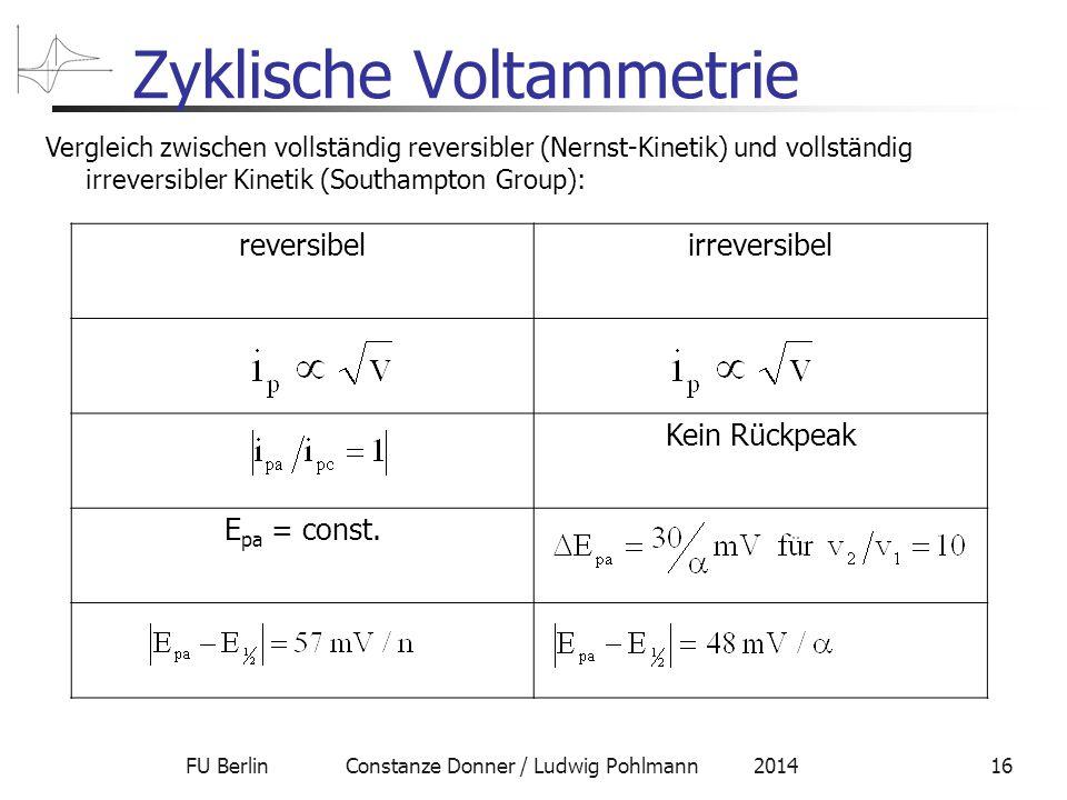 FU Berlin Constanze Donner / Ludwig Pohlmann 201416 Zyklische Voltammetrie reversibelirreversibel Kein Rückpeak E pa = const.