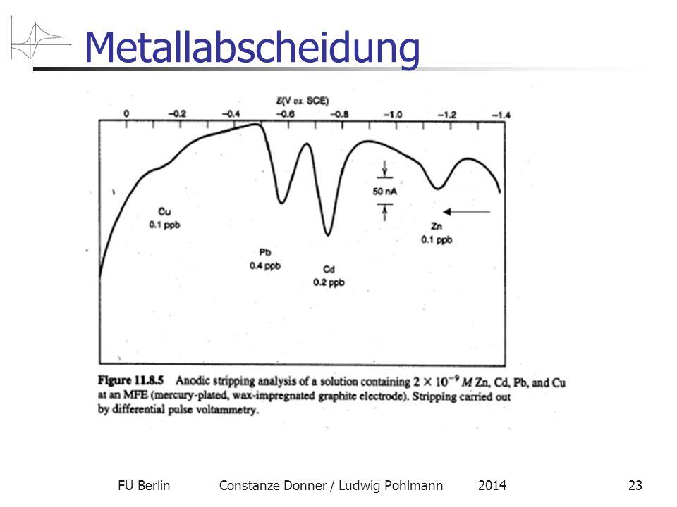 FU Berlin Constanze Donner / Ludwig Pohlmann 201423 Metallabscheidung