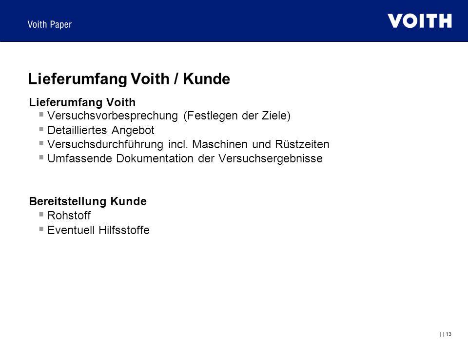     13 Lieferumfang Voith / Kunde Lieferumfang Voith  Versuchsvorbesprechung (Festlegen der Ziele)  Detailliertes Angebot  Versuchsdurchführung inc