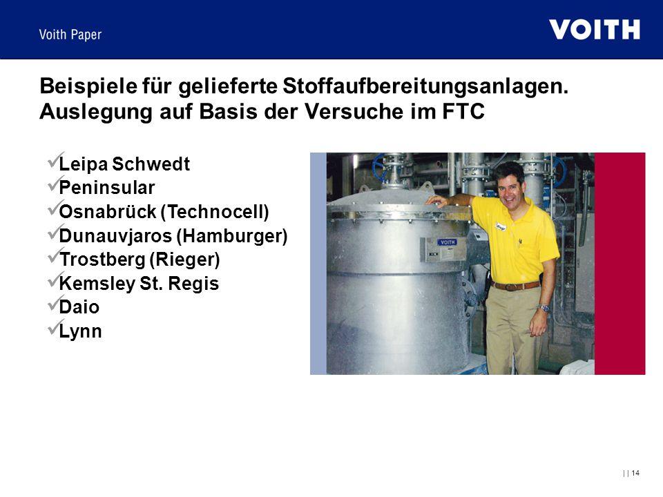     14 Beispiele für gelieferte Stoffaufbereitungsanlagen. Auslegung auf Basis der Versuche im FTC Leipa Schwedt Peninsular Osnabrück (Technocell) Dun