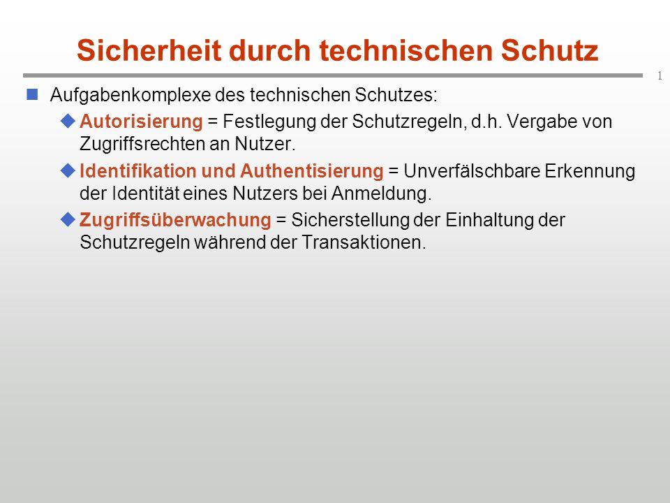 2 Schutz: Systemarchitektur realer Benutzer interner Benutzer Identifikation, Authentisierung Autorisierungs- system Schutz- regeln schreibenlesen Überwachungs- system gewünschte Autorisierung Benutzer- anfrage ZulassungPrüfung