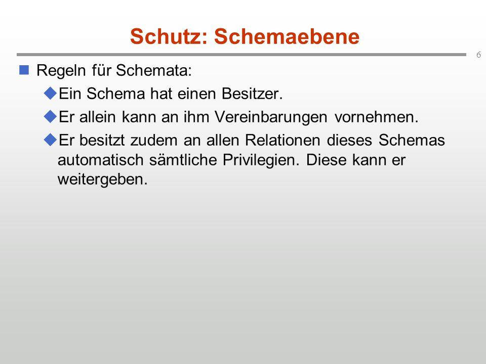 6 Schutz: Schemaebene Regeln für Schemata:  Ein Schema hat einen Besitzer.