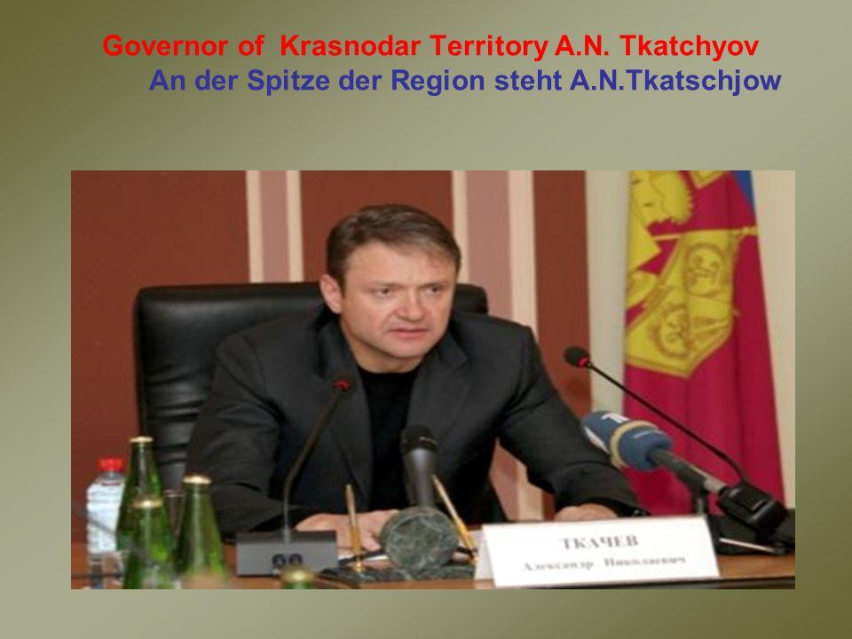 Governor of Krasnodar Territory A.N. Tkatchyov An der Spitze der Region steht A.N.Tkatschjow