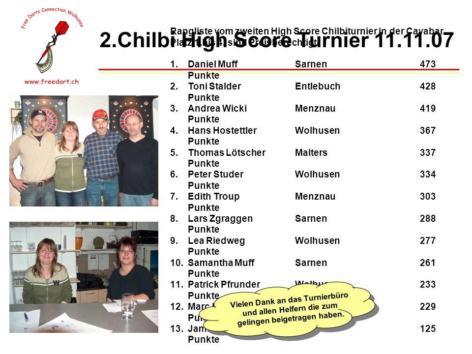 2.Chilbi High Score Turnier 11.11.07 Rangliste vom zweiten High Score Chilbiturnier in der Cavabar Platz 1.bis 4.