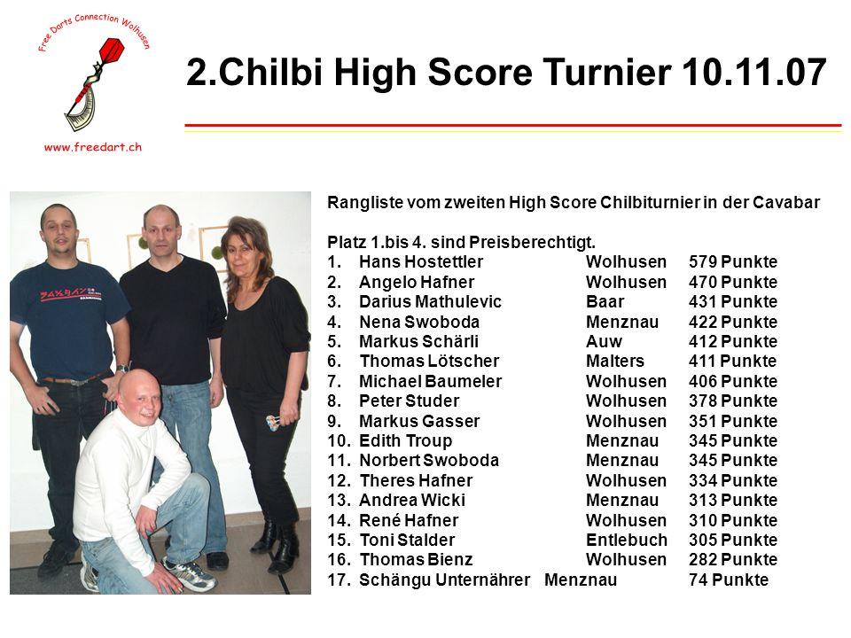 2.Chilbi High Score Turnier 10.11.07 Rangliste vom zweiten High Score Chilbiturnier in der Cavabar Platz 1.bis 4.