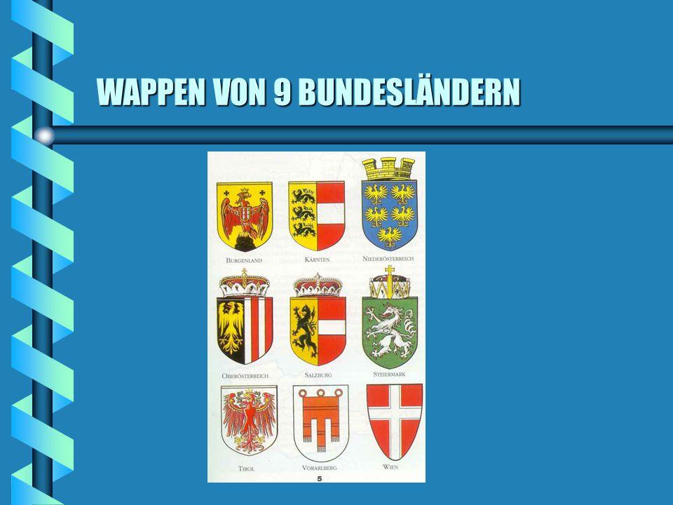 ÖSTERREICHS BUNDESLÄNDER b Die demokratische Republik Österreich ist ein Bundesstaat aus 9 selbständigen Ländern