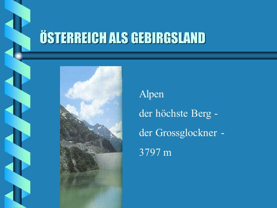 LANDSCHAFTEN b Ostalpen - 62,8% b Alpen- und Karpatenvorland - 11,3% b Vorland im Osten ( Anteil am Pannonischen Tiefland) - 11,3% b Wiener Becken - 4,4% b Granit- und Gneishochland - 10,1%