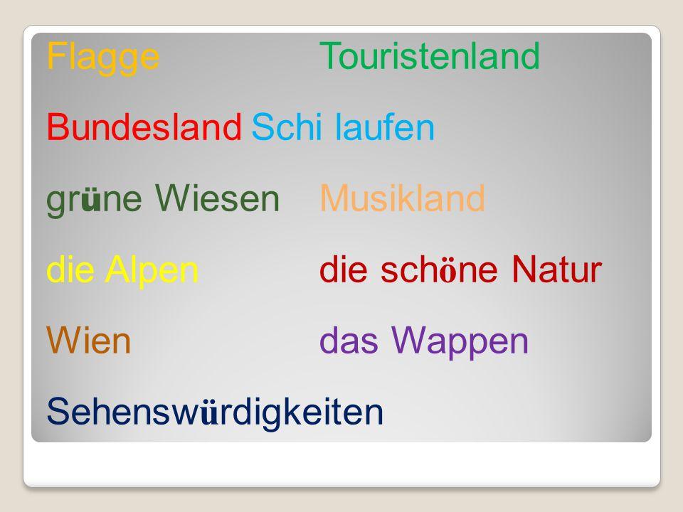 FlaggeTouristenland BundeslandSchi laufen gr ü ne WiesenMusikland die Alpen die sch ö ne Natur Wien das Wappen Sehensw ü rdigkeiten