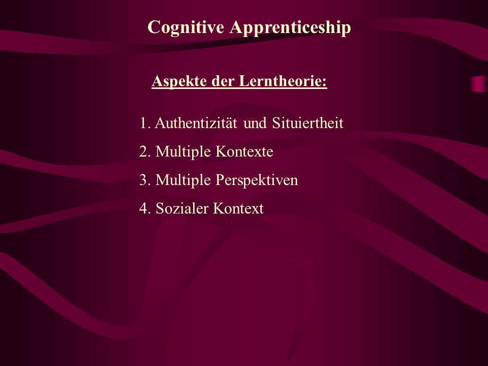"Traditional Apprenticeship 1. ""modeling"" 2. ""coaching"" 3. ""fading"" Der Experte/MeisterDer Schüler"