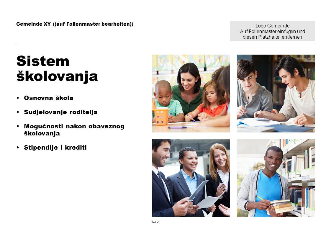 Logo Gemeinde Auf Folienmaster einfügen und diesen Platzhalter entfernen Gemeinde XY ((auf Folienmaster bearbeiten)) Sistem školovanja Osnovna škola S