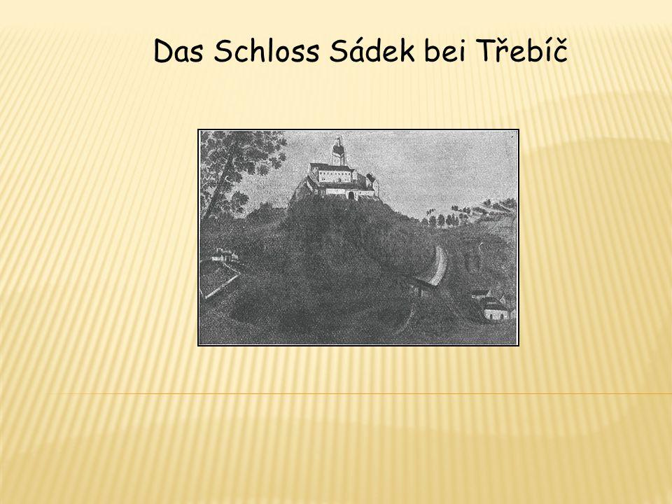  Westlich von dem Dorf Kojetice auf dem alleinstehenden Gipfel befindet sich Burg Sádek, damals Ungersberk genannt.