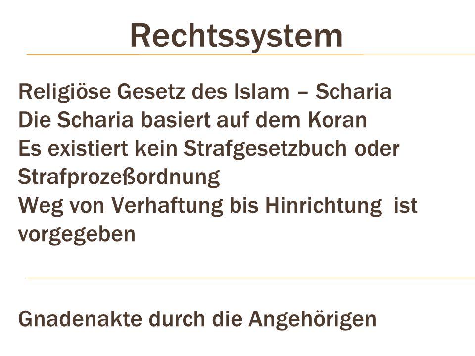 Rechtssystem Religiöse Gesetz des Islam – Scharia Die Scharia basiert auf dem Koran Es existiert kein Strafgesetzbuch oder Strafprozeßordnung Weg von