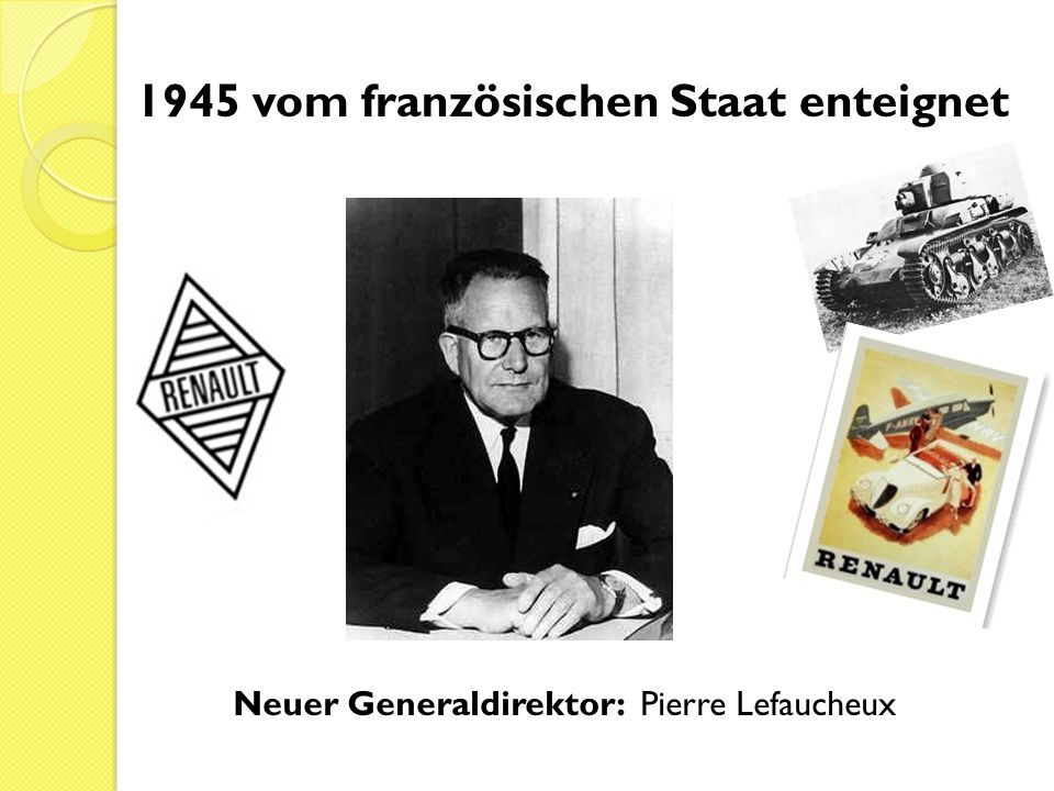 1945 vom französischen Staat enteignet Neuer Generaldirektor: Pierre Lefaucheux