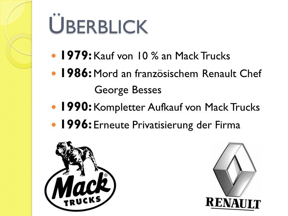 Ü BERBLICK 1979: Kauf von 10 % an Mack Trucks 1986: Mord an französischem Renault Chef George Besses 1990: Kompletter Aufkauf von Mack Trucks 1996: Er