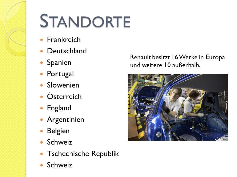 S TANDORTE Frankreich Deutschland Spanien Portugal Slowenien Österreich England Argentinien Belgien Schweiz Tschechische Republik Schweiz Renault besi