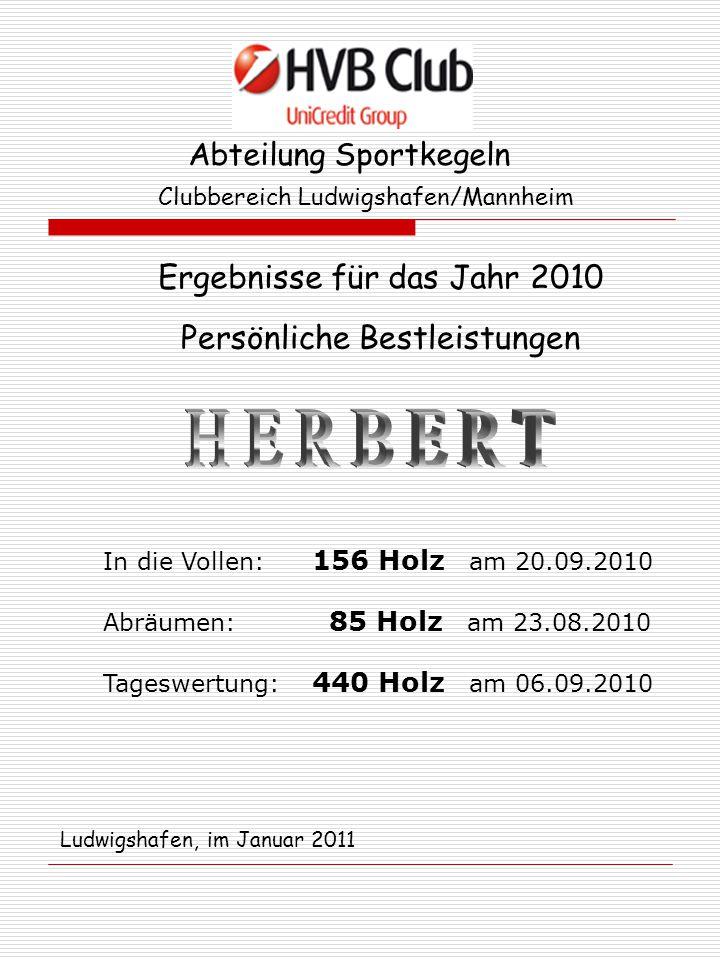 Abteilung Sportkegeln Clubbereich Ludwigshafen/Mannheim Ergebnisse für das Jahr 2010 Persönliche Bestleistungen In die Vollen: 156 Holz am 20.09.2010