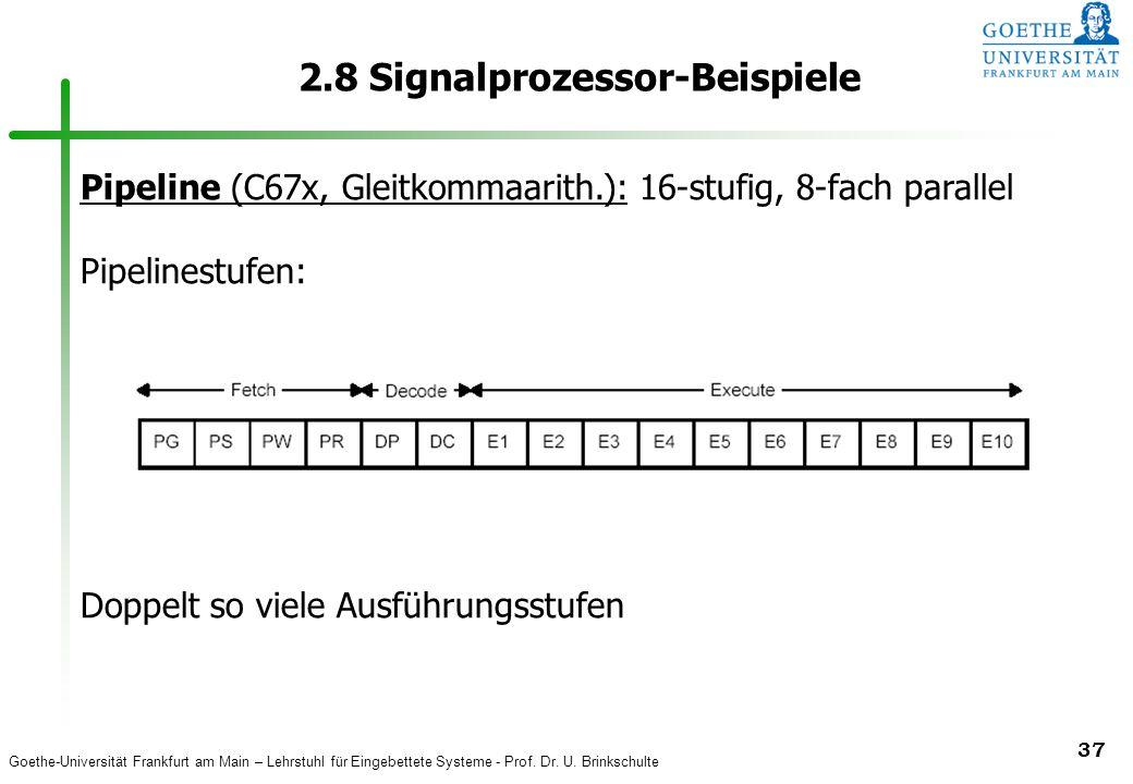 Goethe-Universität Frankfurt am Main – Lehrstuhl für Eingebettete Systeme - Prof. Dr. U. Brinkschulte 37 2.8 Signalprozessor-Beispiele Pipeline (C67x,