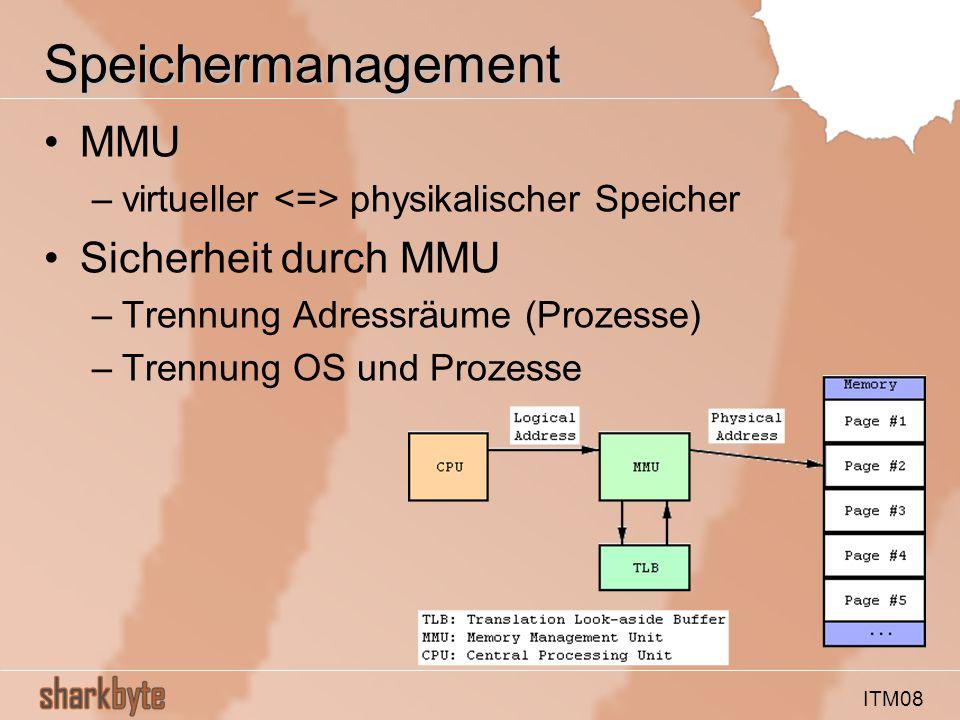ITM08 Speichermanagement MMU –virtueller physikalischer Speicher Sicherheit durch MMU –Trennung Adressräume (Prozesse) –Trennung OS und Prozesse