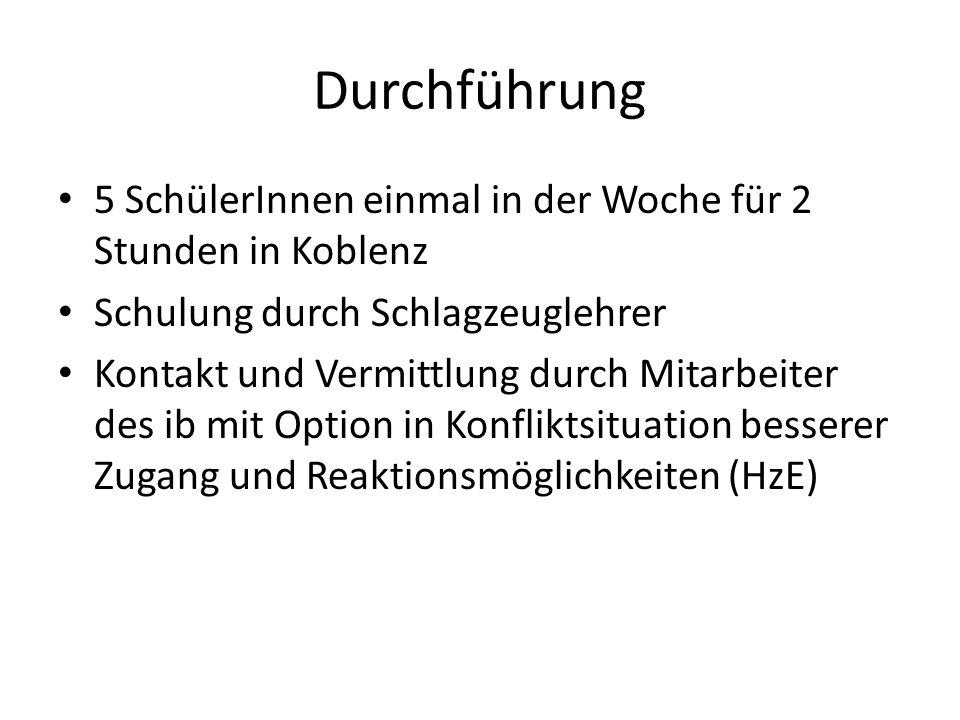 Durchführung 5 SchülerInnen einmal in der Woche für 2 Stunden in Koblenz Schulung durch Schlagzeuglehrer Kontakt und Vermittlung durch Mitarbeiter des