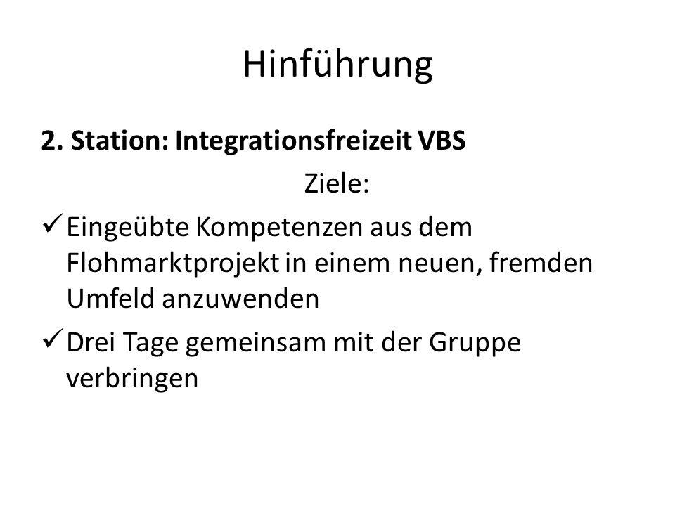 Hinführung 2. Station: Integrationsfreizeit VBS Ziele: Eingeübte Kompetenzen aus dem Flohmarktprojekt in einem neuen, fremden Umfeld anzuwenden Drei T