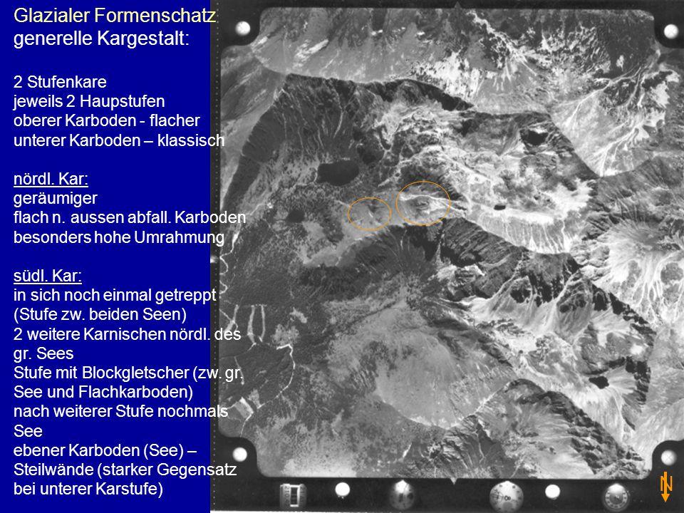 Glazialer Formenschatz generelle Kargestalt: 2 Stufenkare jeweils 2 Haupstufen oberer Karboden - flacher unterer Karboden – klassisch nördl. Kar: gerä