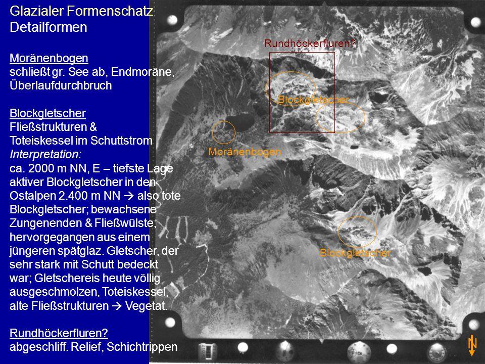 Glazialer Formenschatz Detailformen Moränenbogen schließt gr. See ab, Endmoräne, Überlaufdurchbruch Blockgletscher Fließstrukturen & Toteiskessel im S