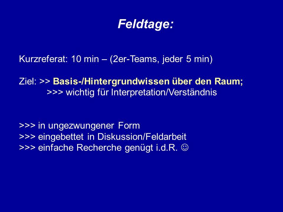 Feldtage: Kurzreferat: 10 min – (2er-Teams, jeder 5 min) Ziel: >> Basis-/Hintergrundwissen über den Raum; >>> wichtig für Interpretation/Verständnis >