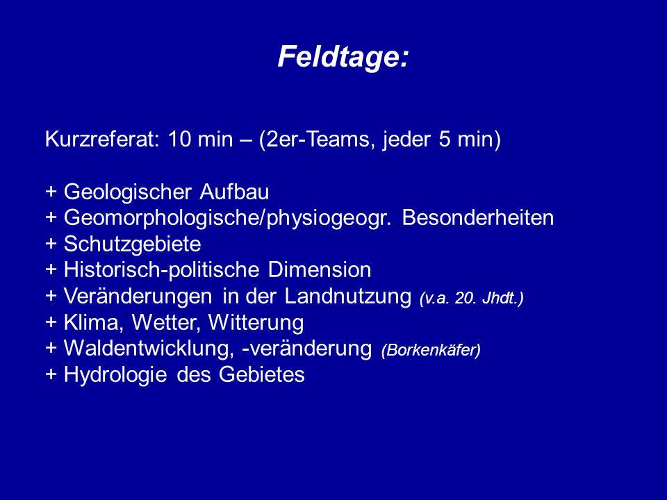 Feldtage: Kurzreferat: 10 min – (2er-Teams, jeder 5 min) + Geologischer Aufbau + Geomorphologische/physiogeogr. Besonderheiten + Schutzgebiete + Histo