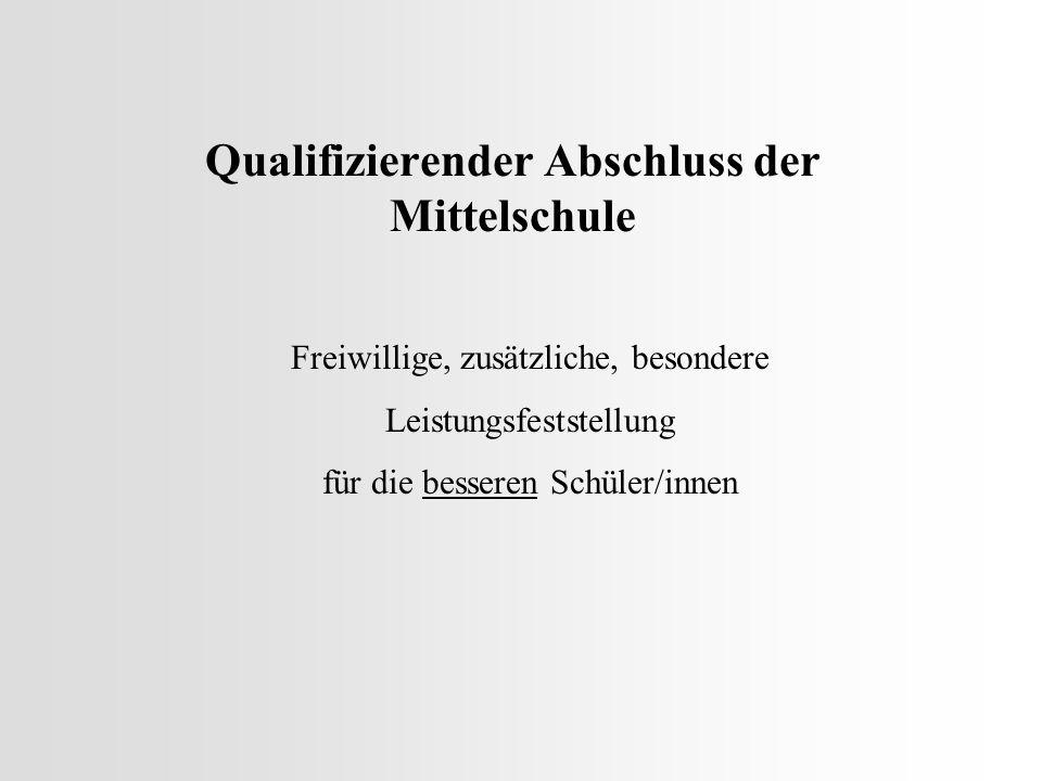 Qualifizierender Abschluss der Mittelschule Freiwillige, zusätzliche, besondere Leistungsfeststellung für die besseren Schüler/innen