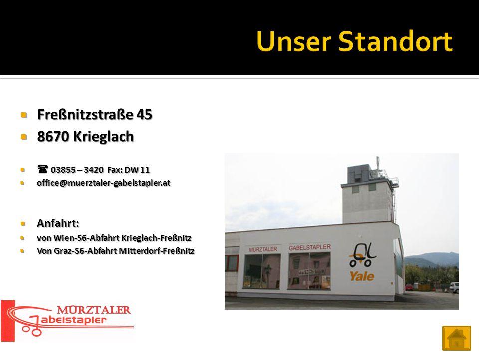 Freßnitzstraße 45  8670 Krieglach   03855 – 3420 Fax: DW 11  office@muerztaler-gabelstapler.at  Anfahrt:  von Wien-S6-Abfahrt Krieglach-Freßni