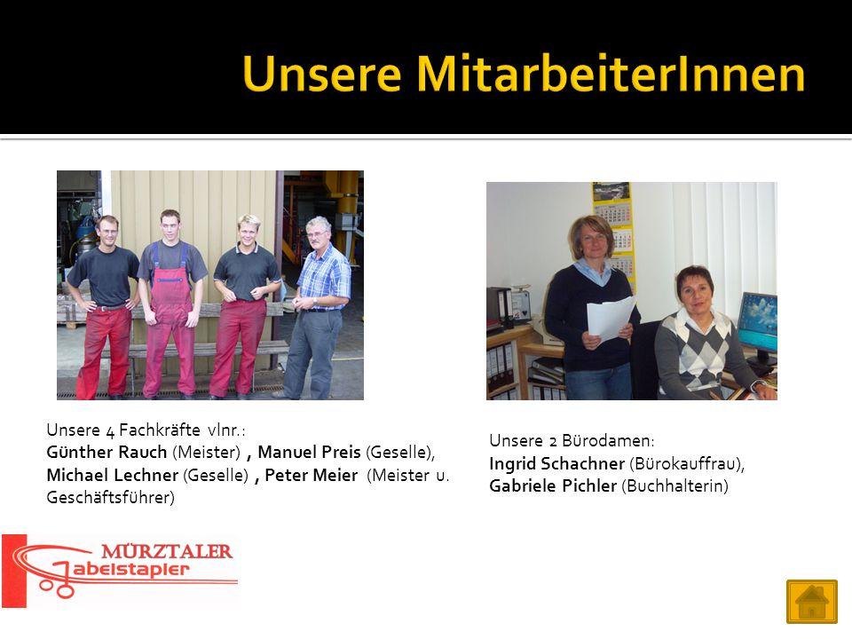 Unsere 4 Fachkräfte vlnr.: Günther Rauch (Meister), Manuel Preis (Geselle), Michael Lechner (Geselle), Peter Meier (Meister u. Geschäftsführer) Unsere