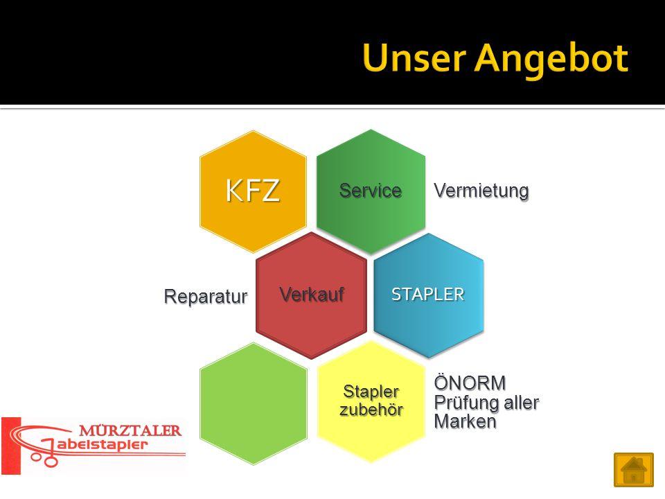 Service Vermietung KFZ Verkauf Reparatur STAPLER Stapler zubehör ÖNORM Prüfung aller Marken