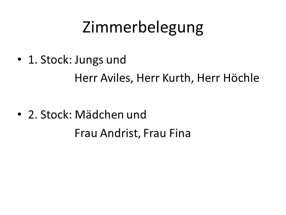 Zimmerbelegung 1. Stock: Jungs und Herr Aviles, Herr Kurth, Herr Höchle 2.