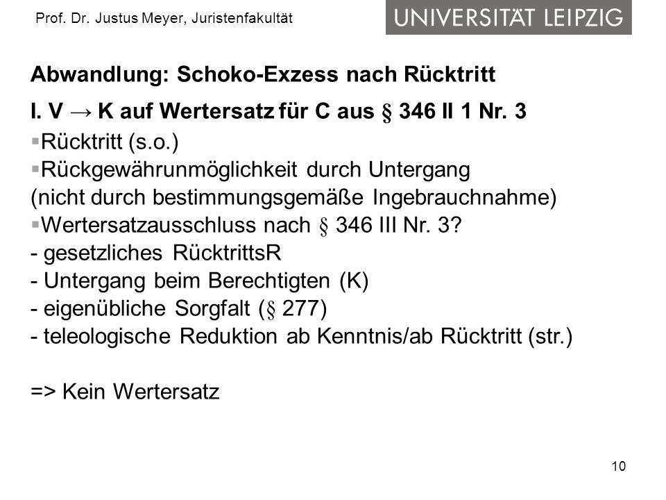 10 Prof.Dr. Justus Meyer, Juristenfakultät Abwandlung: Schoko-Exzess nach Rücktritt I.