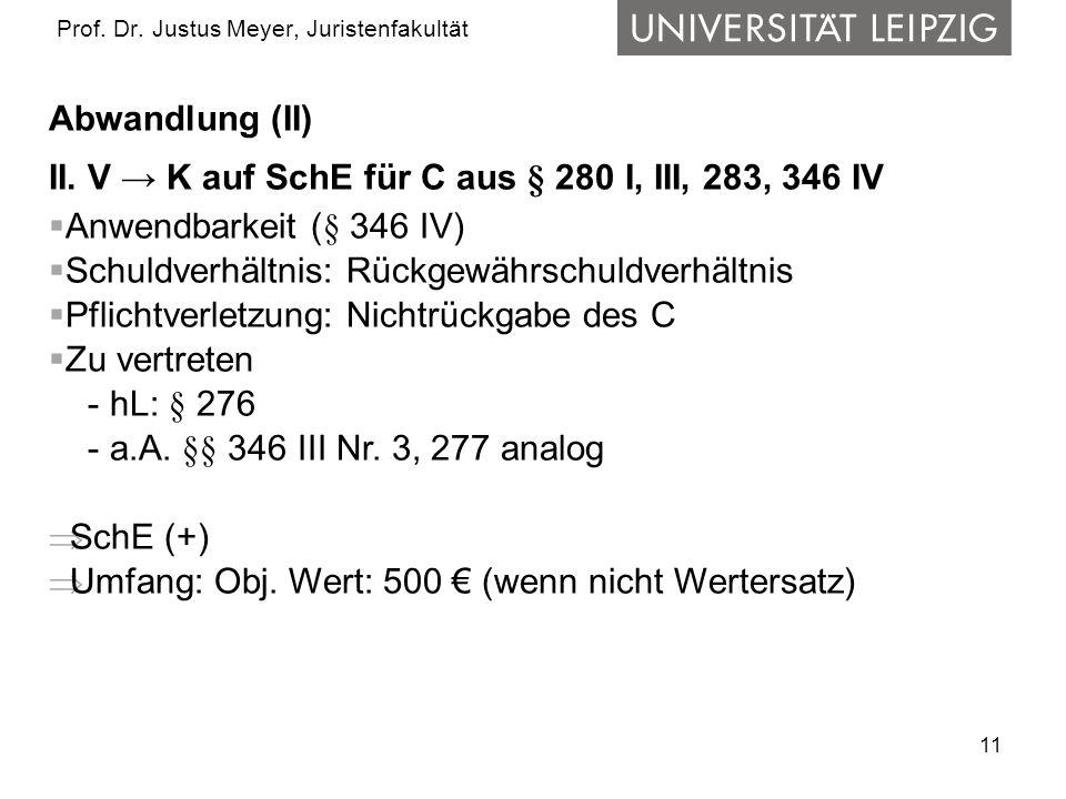 11 Prof.Dr. Justus Meyer, Juristenfakultät Abwandlung (II) II.