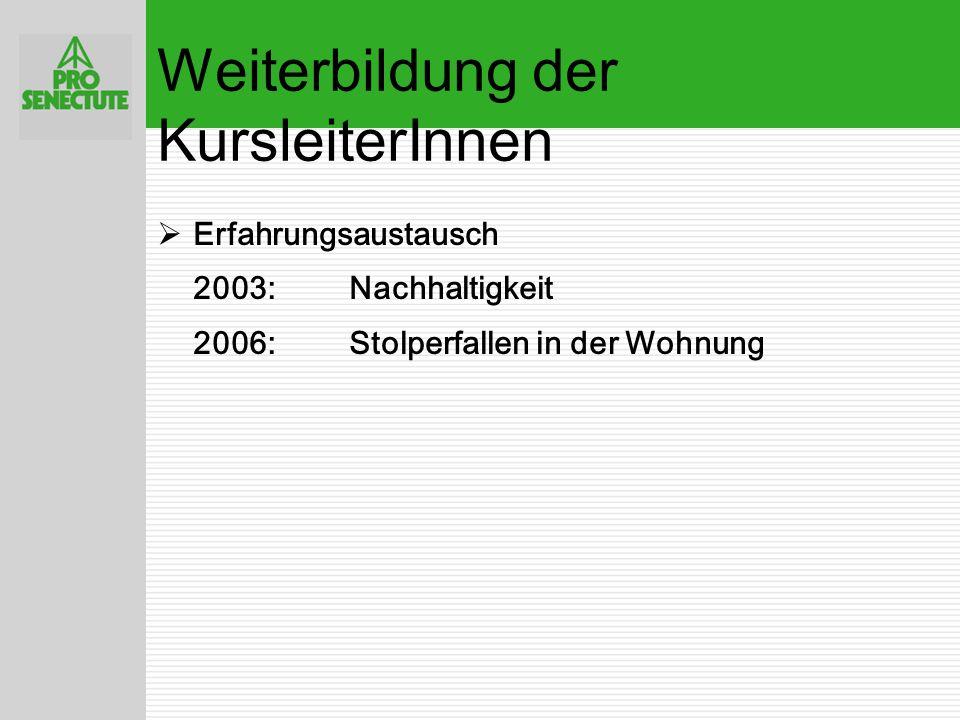  Pro Senectute Schweiz 8 Anpassungen  Kursangebot statt 1 x 12 Trainings neu7x plus 6x Training