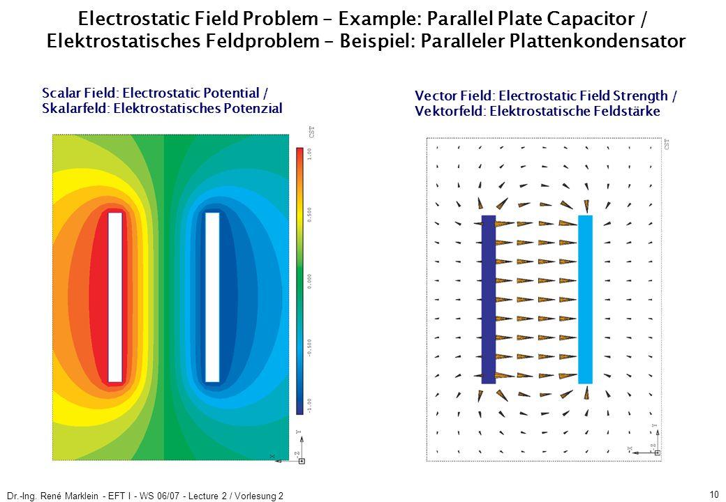 Dr.-Ing. René Marklein - EFT I - WS 06/07 - Lecture 2 / Vorlesung 2 10 Electrostatic Field Problem – Example: Parallel Plate Capacitor / Elektrostatis
