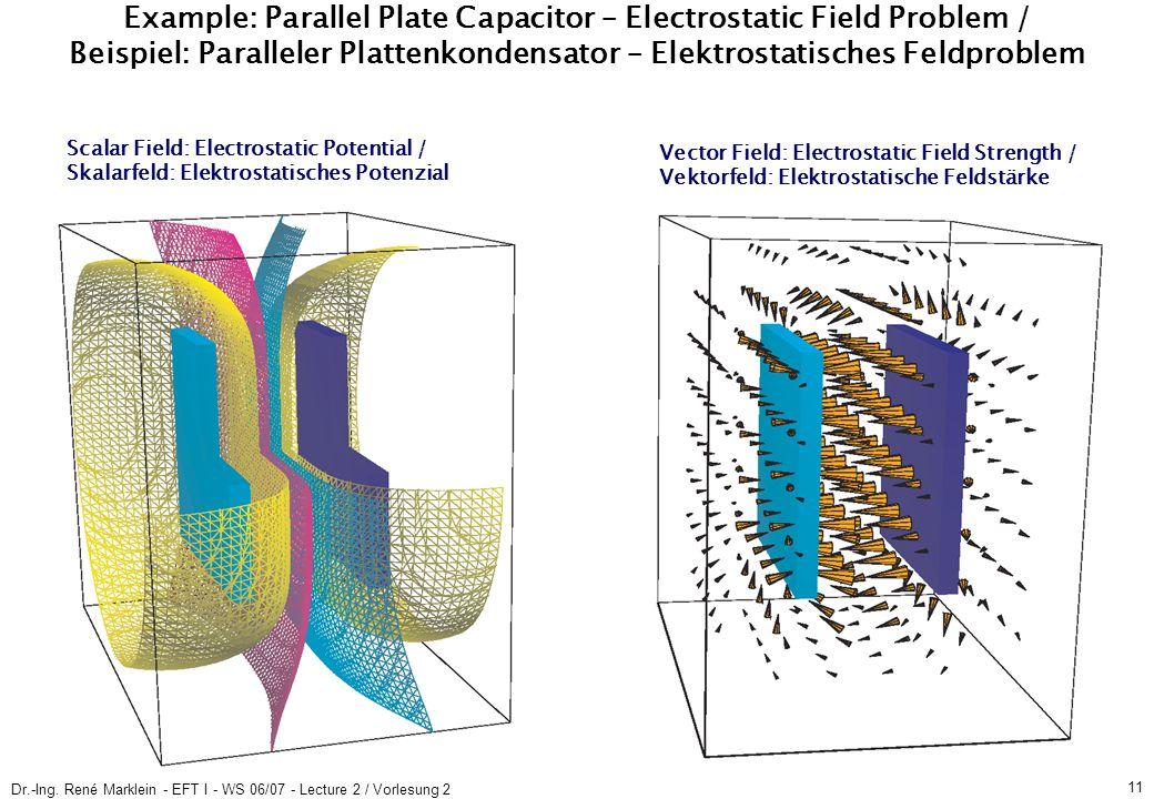 Dr.-Ing. René Marklein - EFT I - WS 06/07 - Lecture 2 / Vorlesung 2 11 Example: Parallel Plate Capacitor – Electrostatic Field Problem / Beispiel: Par