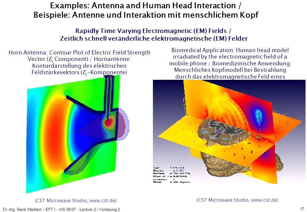 Dr.-Ing. René Marklein - EFT I - WS 06/07 - Lecture 2 / Vorlesung 2 17 Rapidly Time Varying Electromagnetic (EM) Fields / Zeitlich schnell veränderlic
