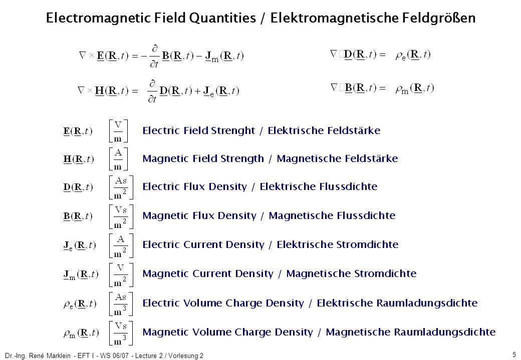Dr.-Ing. René Marklein - EFT I - WS 06/07 - Lecture 2 / Vorlesung 2 5 Electromagnetic Field Quantities / Elektromagnetische Feldgrößen
