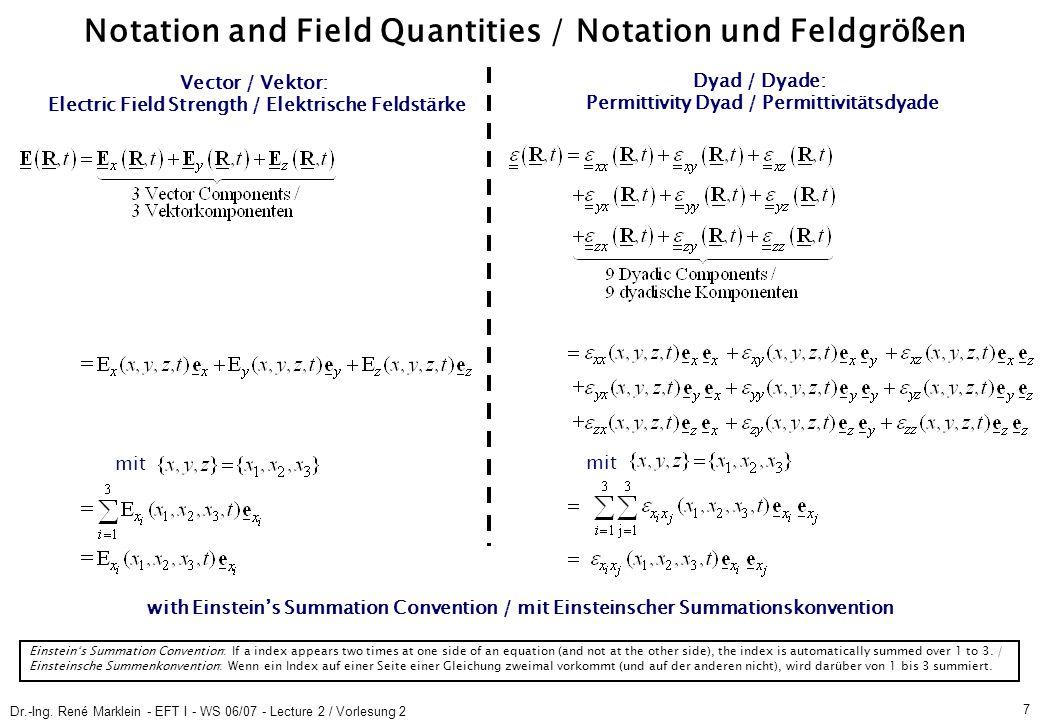Dr.-Ing. René Marklein - EFT I - WS 06/07 - Lecture 2 / Vorlesung 2 7 Notation and Field Quantities / Notation und Feldgrößen Vector / Vektor: Electri