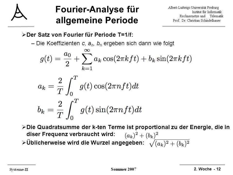 2. Woche - 12 Fourier-Analyse für allgemeine Periode  Der Satz von Fourier für Periode T=1/f: –Die Koeffizienten c, a n, b n ergeben sich dann wie fo