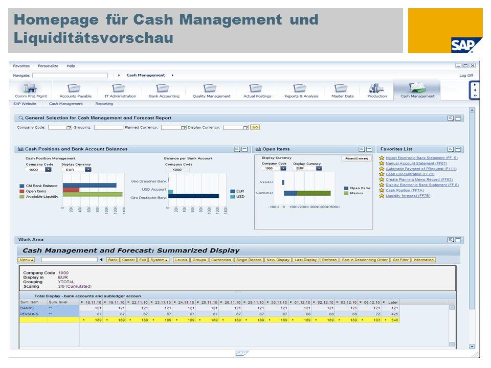 Homepage für Cash Management und Liquiditätsvorschau