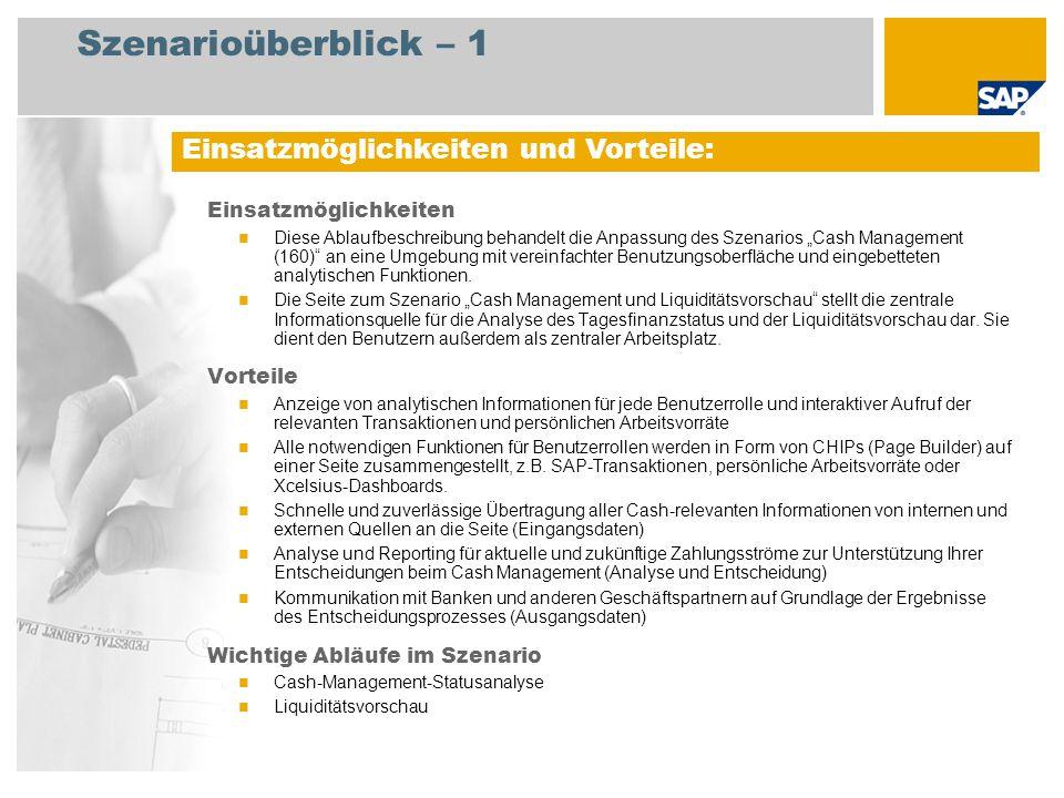 Szenarioüberblick – 2 Erforderlich SAP Enhancement Package 5 for SAP ERP 6.0 Xcelsius 2008 An den Abläufen beteiligte Benutzerrollen Finanzverwalter - Tagesfinanzstatus und Liquiditätsvorschau (UI-Rolle) Finanzverwalter Bankbuchhalter Leiter Kreditorenbuchhaltung Leiter Debitorenbuchhaltung Debitorenbuchhalter – nur FI Mitarbeiten (Professional User) Erforderliche SAP-Anwendungen: