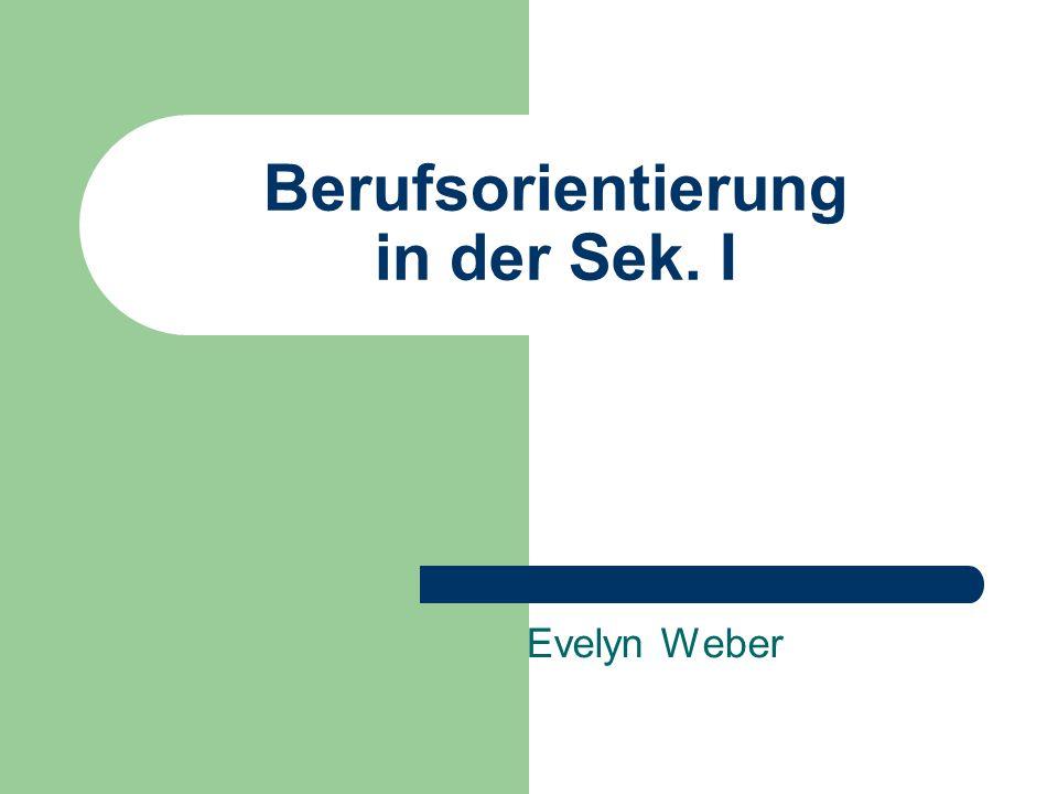 Berufsorientierung in der Sek. I Evelyn Weber