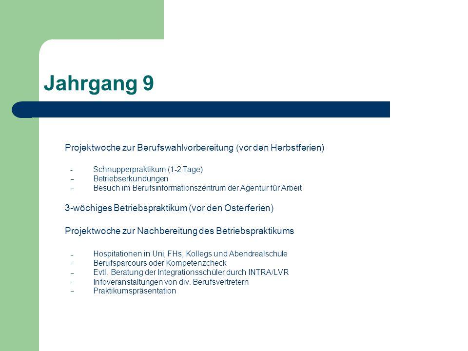 Jahrgang 9 Projektwoche zur Berufswahlvorbereitung (vor den Herbstferien) -Schnupperpraktikum (1-2 Tage) – Betriebserkundungen – Besuch im Berufsinfor