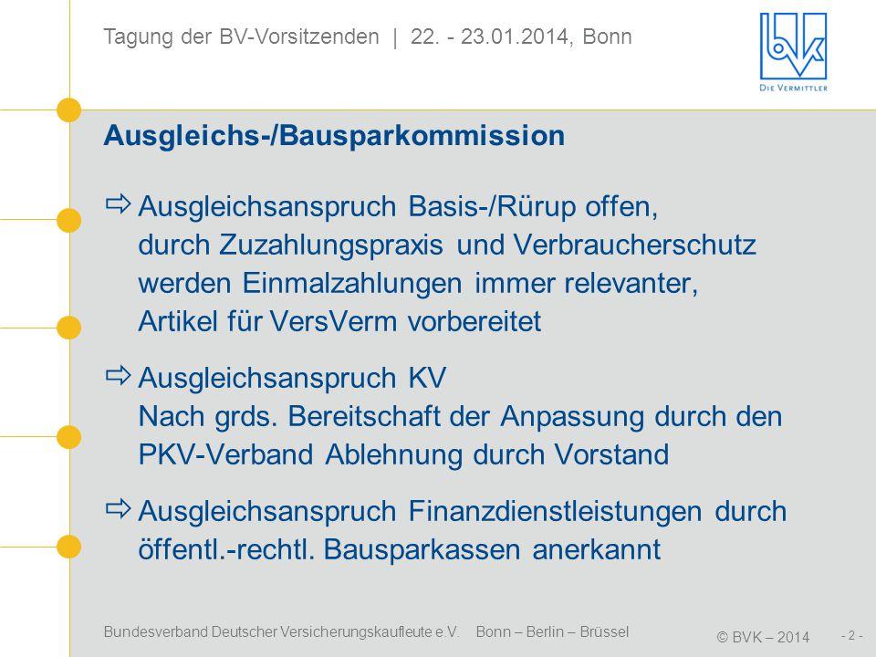 Bundesverband Deutscher Versicherungskaufleute e.V. Bonn – Berlin – Brüssel © BVK – 2014 - 2 - Tagung der BV-Vorsitzenden | 22. - 23.01.2014, Bonn Aus