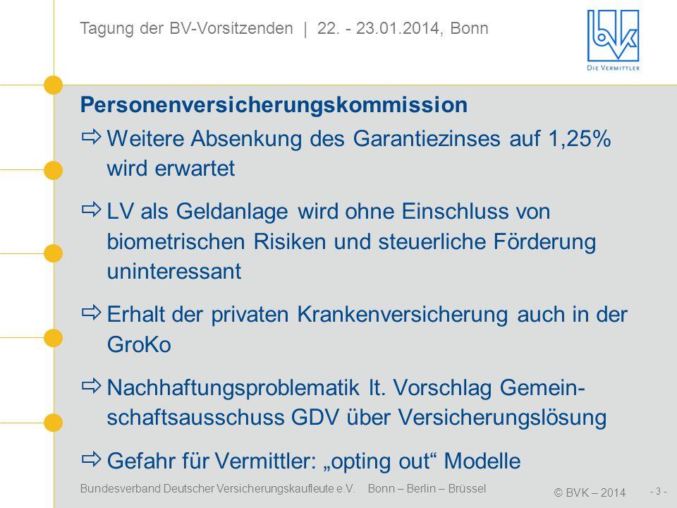 Bundesverband Deutscher Versicherungskaufleute e.V. Bonn – Berlin – Brüssel © BVK – 2014 - 3 - Tagung der BV-Vorsitzenden | 22. - 23.01.2014, Bonn Per